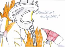 Rajz egy tűzoltóról.